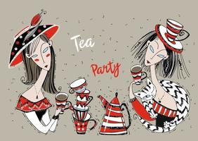 Tea party. Girls friends drink tea. Art Nouveau style. vector