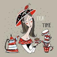 A girl drinks tea. Tea time. Art Nouveau style vector