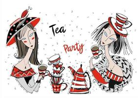 Tea party. Girls friends drink tea. Art Nouveau style vector
