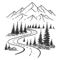 Mountains road. Landscape black on white background. Hand drawn rocky peaks in sketch style. Vector illustration