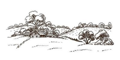 Hand drawn vector nature illustration with rural landscape with a farm.