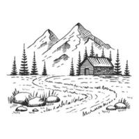 Mountain with pine trees and country house landscape black on white background. Hand drawn rocky peaks in sketch style. Vector illustration.