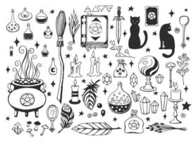 Witchcraft, magic background for witches and wizards. Vector vintage collection. Hand drawn magic tools, concept of witchcraft.