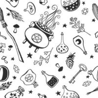 Witchcraft, magic background for witches and wizards. Vector seamless pattern in vintage style. Hand drawn magic tools, concept of witchcraft.