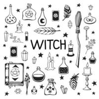 Witchcraft, magic background for witches and wizards. Vector vintage collection. Hand drawn magic tools, concept of witchcraft. Drawn magic tools book, candles, potions, broom, crystals, cauldron.