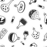 Seamless pattern with witch magic bottles and brew drink with potion. Mystic background for Halloween, esoteric, gothic and occult concept. vector