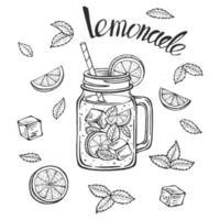 taza de limonada con hielo y una rodaja de limón y una pajita y hojas de menta, boceto de limonada en un vaso, dibujo a mano de una taza de limonada, letras de limonada casera, ilustraciones de vectores aislados.