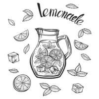Jarra de vidrio con limonada, boceto de limonada casera, Ilustración de verano. limón dibujado a mano, rodaja de limón, paja. la inscripción en la limonada. vector