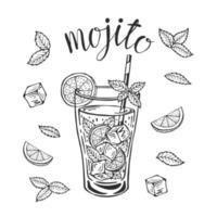 Mojito cóctel clásico dibujado a mano ilustración vectorial. Vaso de limonada con hielo y una rodaja de limón y una pajita y hojas de menta, para tarjetas de cóctel. Letras de mojito casero, ilustración aislada vector