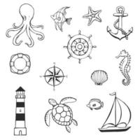 Sea or ocean underwater life with different animals and marine objects. Concept elements. Vector illustration in hand drawn style.