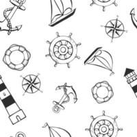 Seamless pattern with different animals and marine objects. Sea or ocean underwater life background. Concept elements. Vector illustration in hand drawn style.