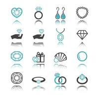jewelry icons with reflection vector