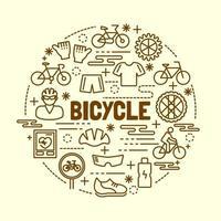 bicicleta, mínimo, línea fina, iconos, conjunto vector