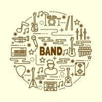 band minimal thin line icons set vector