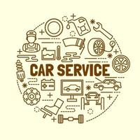 car service minimal thin line icons set