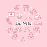 japanese minimal outline icons vector