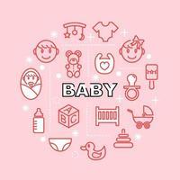 iconos de contorno mínimo de bebé vector