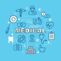 iconos de contorno mínimo médico vector