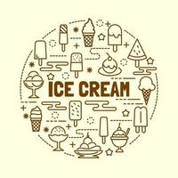 ice cream minimal thin line icons set vector