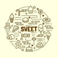 conjunto de iconos de línea fina mínima dulce vector