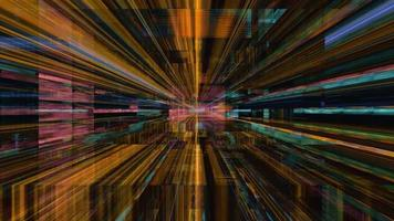 viajando em alta velocidade através de um labirinto de faixas de luz de alta energia
