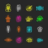 cooking neon icon set vector