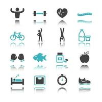 healthy icons with reflection vector