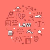 law minimal outline icons vector