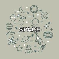 iconos de contorno mínimo de espacio vector