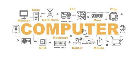 banner de vector de parte de computadora