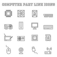 iconos de línea de parte de computadora vector