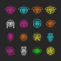 girl neon icon set vector