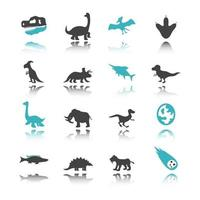 dinosaur icons with reflection vector