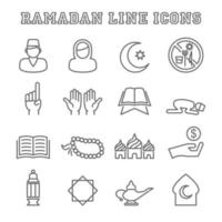 ramadan line icons vector