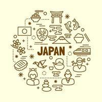 japanese minimal thin line icons set vector