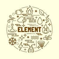 element minimal thin line icons set vector