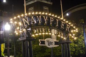 Chicago, Illinois 2016- Chicago Navy Pier beer garden at night photo