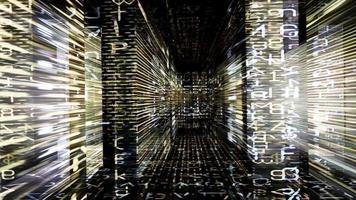 errant dans un labyrinthe lumineux de boucle vidéo de données en streaming video