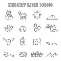desert line icons vector