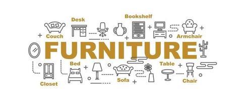 banner de vector de muebles