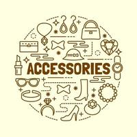 accessories minimal thin line icons set vector