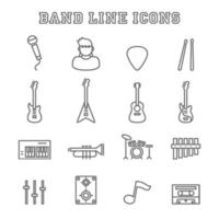 band line icons vector
