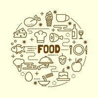 Conjunto de iconos de delgada línea mínima de alimentos vector