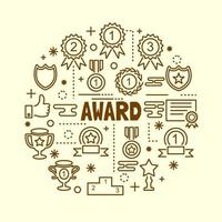 award minimal thin line icons set vector