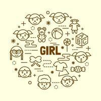 girl minimal thin line icons set vector