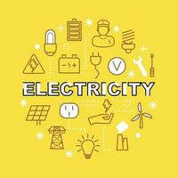 electricity minimal outline icons vector