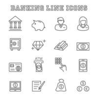 iconos de línea bancaria vector