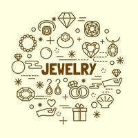 jewelry minimal thin line icons vector