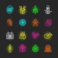 conjunto de iconos de neón de navidad vector