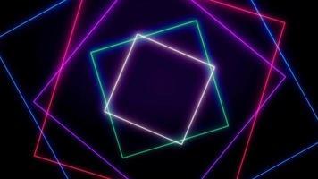 laser neon retro formas geométricas coloridas sobre fundo preto video